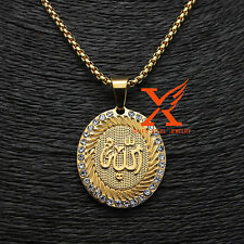 "Stainless Steel Gold Plated Islamic Allah Pendant Necklace Box Chain 30"" 3MM"
