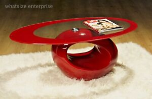 RED OVAL GLASS COFFEE TABLE CONTEMPORARY MODERN RETRO