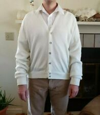 Vintage Mens LONDON FOG Cardigan Grandpa Sweater Size M Button Front Ivory