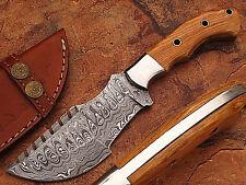 Custom Made Damascus Tracker Knife With Olive Wood Handle (DM2265)