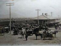 "1911 RPPC "" TRAIN TIME"" - Depot very busy at Klamath Falls OREGON - Miller photo"