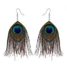 Earrings Ear Ring Long Dangle Festival New Uk Bohemian Boho Real Peacock Feather