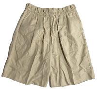 Timberland WeatherGear Shorts Womens Sz Large Beige Tan Khaki Linen Cotton Blend