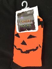Funky Jack-O-Lantern PUMPKIN FACE CREW SOCKS-Halloween Costume Novelty Accessory