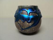 "ORIGINAL CHARLES LOTTON ART GLASS ELECTRIC BLUE ""LAVA"" VASE, SIGNED & DATED 1987"