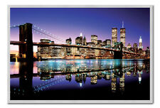 Brooklyn Bridge Poster Silver Framed Ready To Hang Frame Free P&P