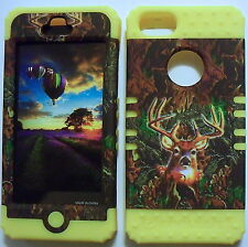 Camo Deer on Yellow Skin Hybrid for Apple iPhone 5 Hard Impact Cover Case