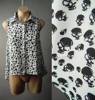 Black White Skull Print Moto Punk Rock Biker Goth Casual Top 205 mv Shirt S M L