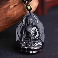 Natural Black Obsidian hand-carved Buddha Lucky Amulet Pendant + Beads Necklace