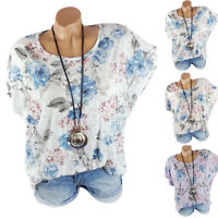 Plus Size Women's Batwing Sleeve Floral Tops T Shirts Loose Fit Blouse Summer US