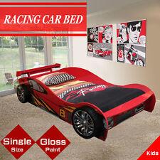 Red High Gloss  Kids Children Racing Car Single Bed Drawer Storage Rear Spoiler