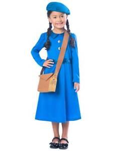 Girls Wartime School Costume World War 2 WW2 Book Day Week Fancy Dress 1940's