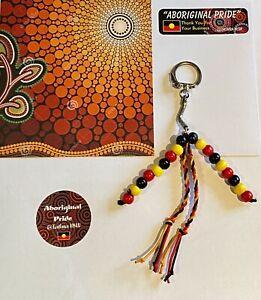 ❤️💛🖤Aboriginal Pride Keyring Aboriginal Flag Colours ❤️💛🖤Handmade With Beads
