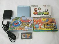 L29 Nintendo Gameboy Advance SP console Pearl Blue & 4 Game Adapter Japan GBA