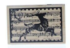 Hampton Art Reindeer Music Collage Wooden Rubber Stamp