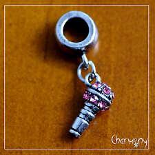 Tiny Rhinestone Microphone charm on European bail ~Tibetan silver singer music