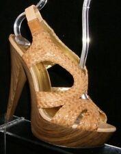 Jessica Simpson brown leather weave elastic slip on slingback platform heels 6B
