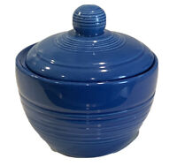 Hand Made Beautiful Glazed Cobalt Blue Heavy Pottery  Sugar bowl With Lid VTG