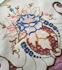"Exquisite Expert Embroidered & Cutwork Madeira Floral Linen Runner 33""x 16"""