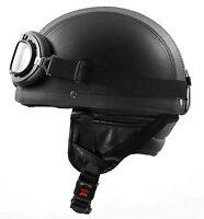 H110 Leder Retro Helm Größe: L 59-60 Motorradhelm Oldtimerhelm Halbschale
