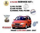 FOR HYUNDAI TRAJET 2.0 CRDI 2004-2007 NEW OIL AIR + DIESEL FUEL 3 FILTER KIT
