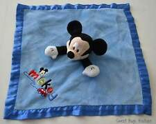 Disney Baby MICKEY MOUSE Blue Plush Satin Blanket Lovey Rattle