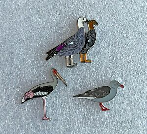 Magellan Goose, Painted Stork & Dolphin Gull Bird Pin Badges, RSPB interest.
