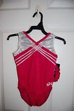 GK Elite Gymnastics Leotard - Child Small - Pink/White Sparkle