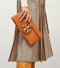 NWT Tory Burch Miller Metal Brown Smooth Leather Clutch Handbag
