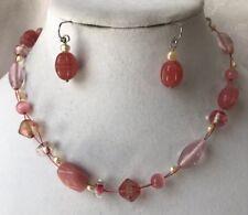 Lia Sophia Infrarose Necklace Earrings Pink Wire Freshwater Pearls Silver Tone