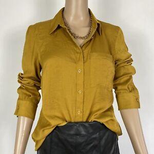 M&S Autograph Mustard Yellow Smart Work Office Shirt Blouse Size 12