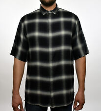Helmut Lang Mens Black Shadow Plaid Drawcord Short Sleeve Button Down Shirt M