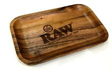 RAW WOODEN ROLLING TRAY SOLID STURDY CURVED EDGES ACACIA WOOD GENUINE NEW!