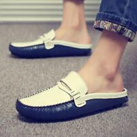 Mens Leather Breathable Slippers Shoes Flat Heel Casual Slip on Sandals Loafers