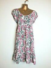 Mia Moda 10 Cap Sleeve Summer Leaf Pattern Purple Green Tea Dress