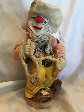 Collectible Vintage Hand-Painted Rodeo Clown With Lasso Rope Figure