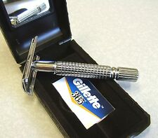 Double Edge DE Safety Razor in Case with Gillette Blades - NICE SET