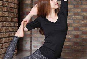 Beautiful quality sexy black yoga dance sports top/tee. size s
