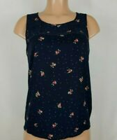 LC Lauren Conrad Women's Size Small Dark Blue Blouse Floral Sleeveless