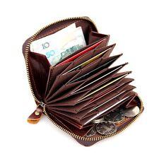 Men's RFID Blocking Coffee Leather Zipper Around Wallet Card Holder Coin Purse