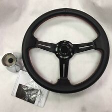"Club Car DS Golf Cart 14"" BLACK w/RED Stitching Steering Wheel w/ CHROME Adapter"