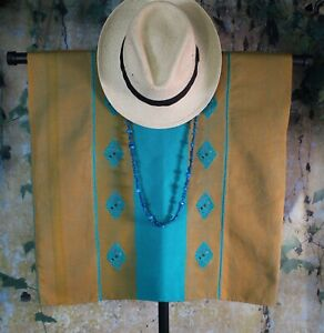 Huipil Tunic Gold & Turquoise Handwoven Backstrap Loom Mayan Chiapas Mexico Boho