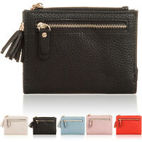Small Flat ID Bus Pass Card Coin Girl Women Wallet Grain Pu Leather Ladies Purse