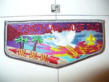 OA O Shot Caw Lodge 265 S16b,1990s RED Name,Flap,GRY Bd,South Florida Council,FL