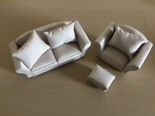 Dollhouse Miniature 1/12th Scale Modern 2 Seater Sofa, Armchair and Footstool