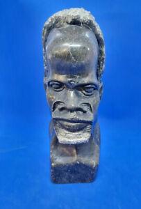 Vintage Carved Stone Head Sculpture Bust African Tribal Elder Native Art #d181