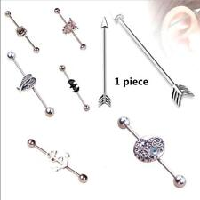 316L Surgical Steel Industrial Bar Scaffold Ear Barbell Ring Body Piercing 38mm