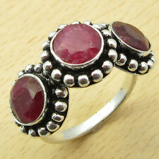 Size US 9 ! 3 GEM Ring !! High End RUBY ROYAL Silver Plated Jewelry ONLINE STORE