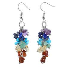 Natural Chakra Crushed Gemstone Chips Dangle Earrings Hook Drop Fashion Jewelry