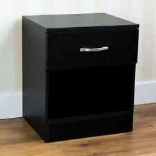 Home Discount Black Bedside Cabinet 1 Drawer With Metal Handles Runners Uniq